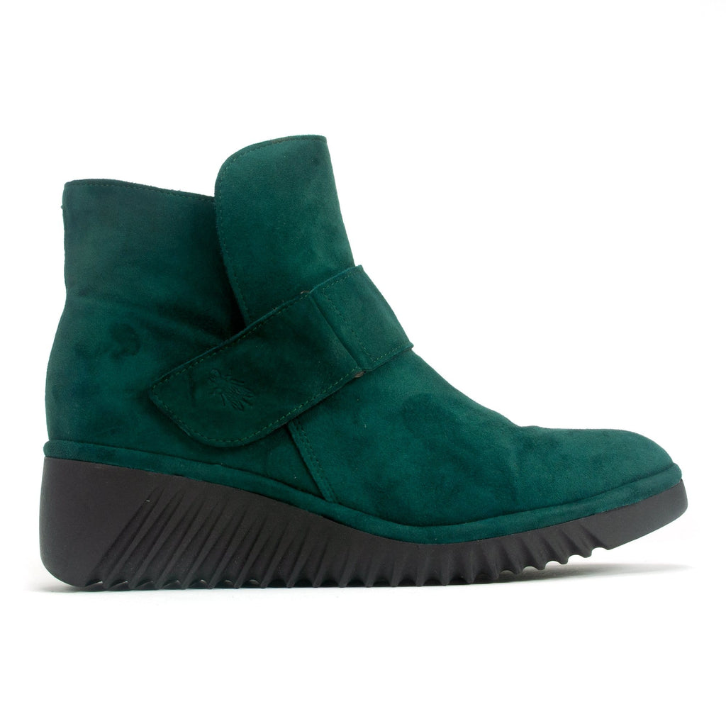 Fly London Women's Suede Wedge Bootie Green | LABE227 | Simons Shoes