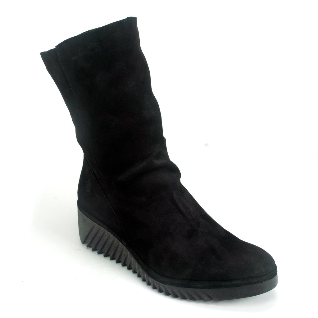 Fly London Women's Suede Wedge Mid-Calf Boot Black | LEDE228 | Simons Shoes
