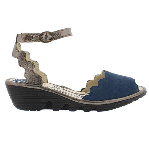 Fly London Pine Womens Scalloped Leather Wedge Sandal | Simons Shoes