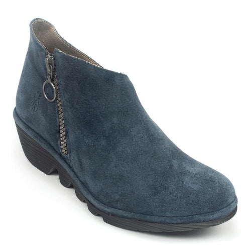 FLY London Poro Women's Suede Zip Up Asymmetrical Bootie Wedge Shoe
