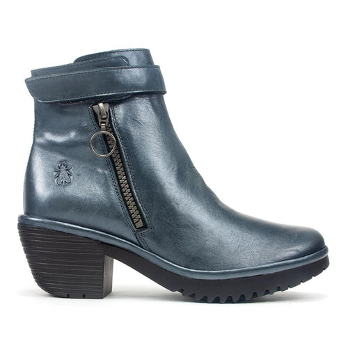FLY London Went Women's Metallic Leather Zip Up Fashion Ankle Bootie