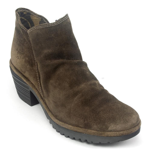 FLY London Wezo Women's Relaxed Suede Casual Zip Up Heeled Bootie Shoe