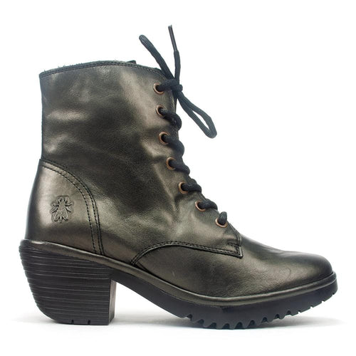 FLY London Woke Women's Metallic Leather Lace Up Heeled Boot Shoe