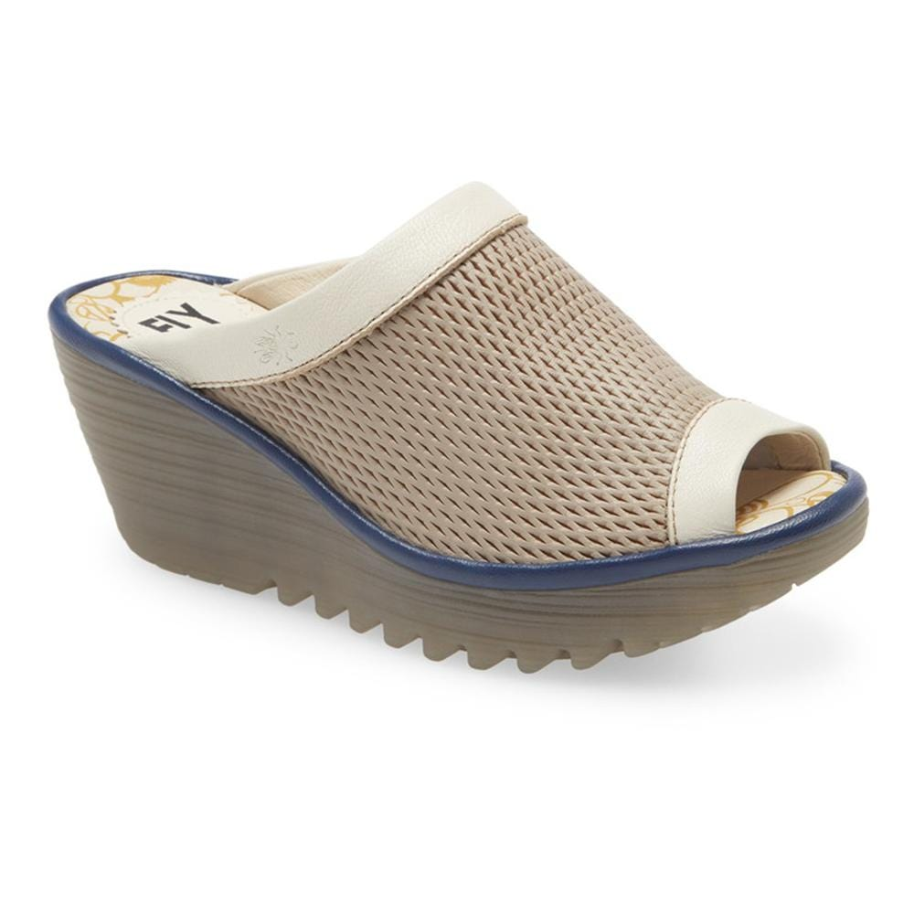 Fly London Leather Yeno  Wedge Slide | Rubber Sole Greige Simons Shoes