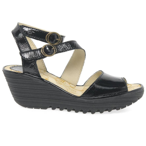 Fly London Wedge - Women's Yisk-837 Leather Two-Buckle Sandal | Simons