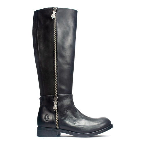 FLY London Anak Women's Contrast Leather Zip Up Tall Riding Boot Shoe