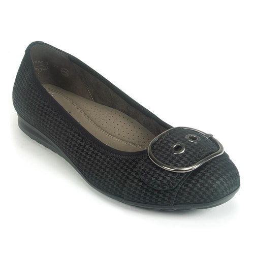 Gabor Womens Houndstooth Buckle Ballerina Flat (32.025) | Simons Shoes