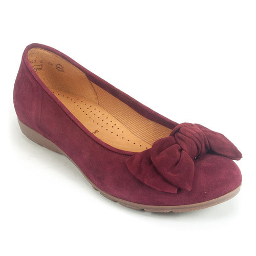 Gabor Womens Redshank Suede Bow Ballerina Flat (34.163) | Simons Shoes