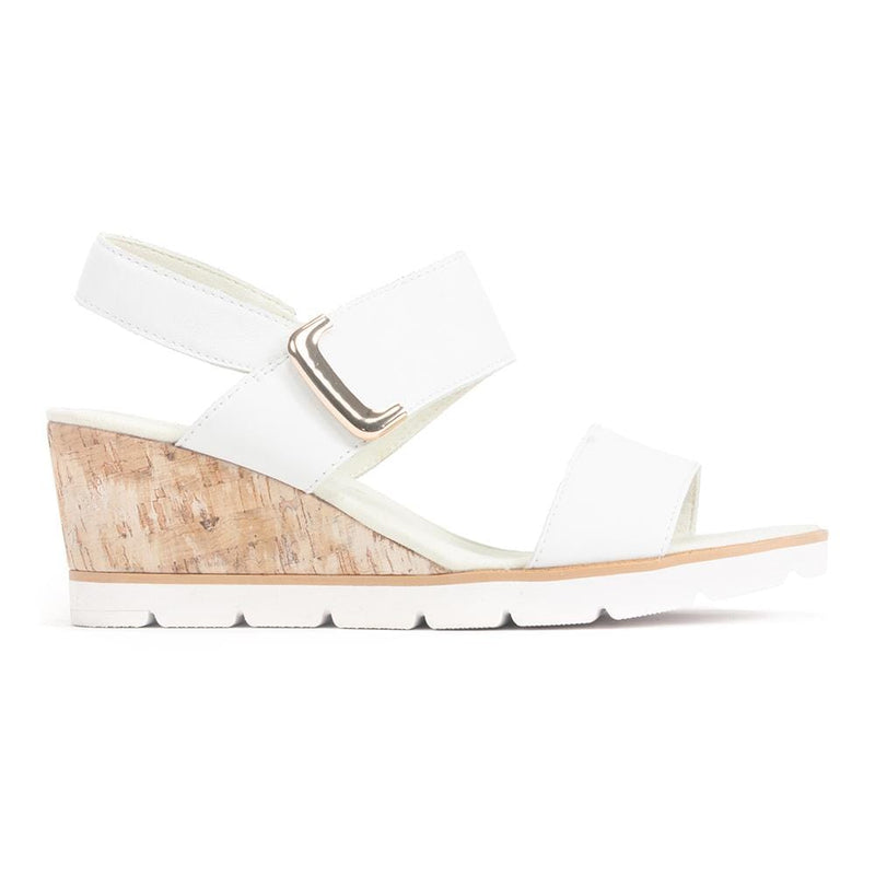 Gabor Porter (45.751) Womens White Leather Wedge Sandal | Simons Shoes