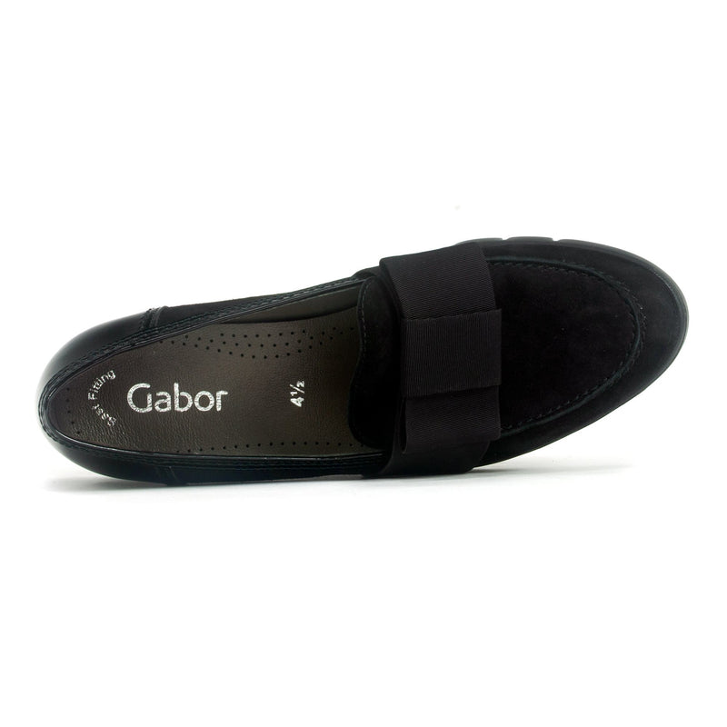 Gabor (54181) Women's Slip On Flat Genuine Leather Wedge Black | Simons Shoes