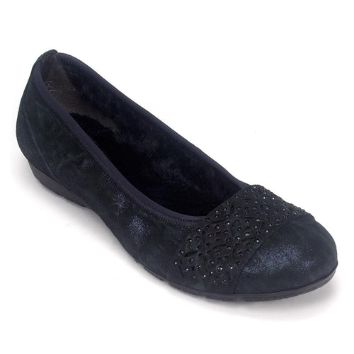 Gabor Womens 74160 Metallic Nubuck Leather Supportive Ballet Flat Shoe