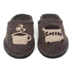 Haflinger wool slippers with coffee and cup applique