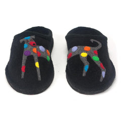 Haflinger wool slippers with rainbow spotted dog applique