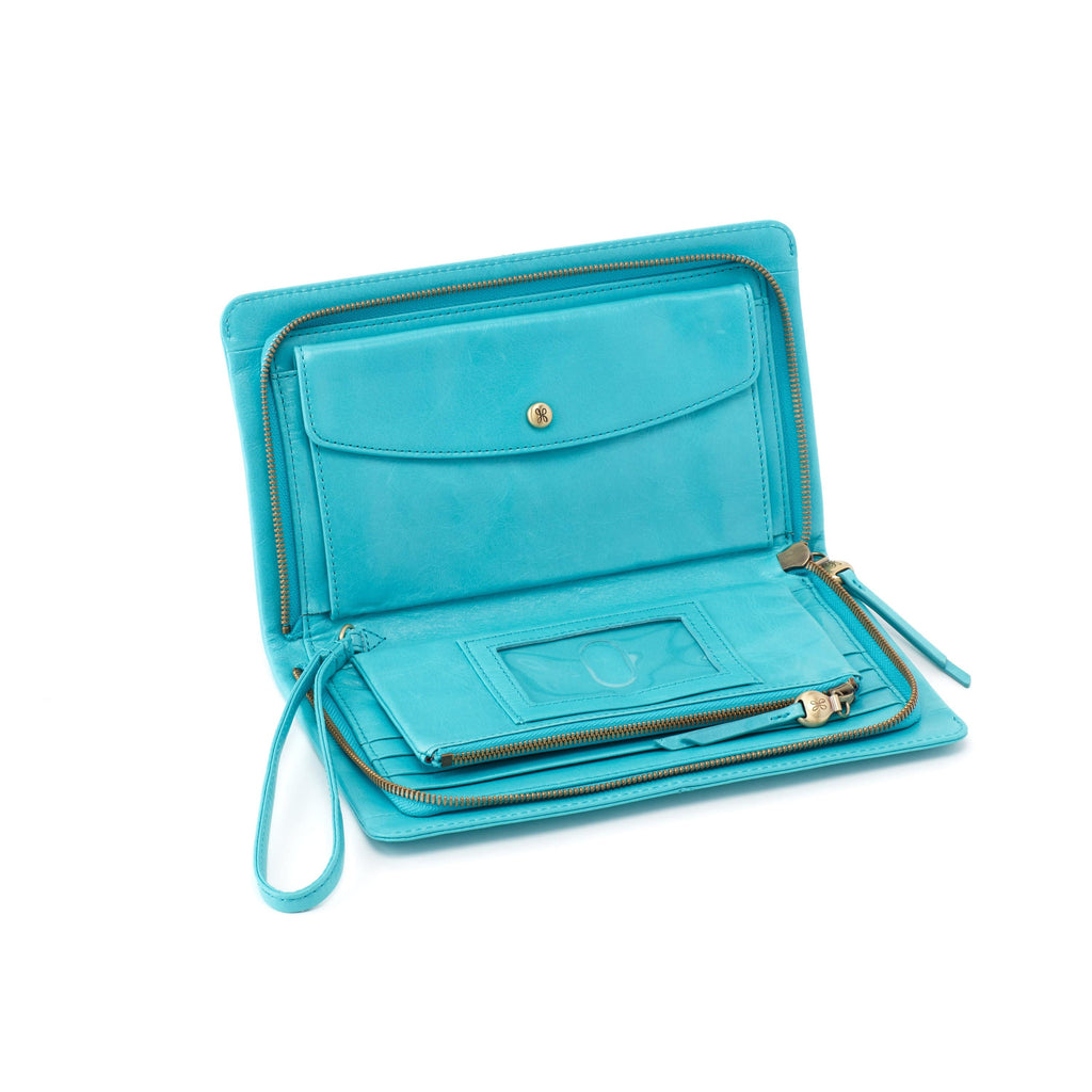 Hobo VI-35808 Evolve Aqua Leather Wristlet Clutch | Simons Shoes