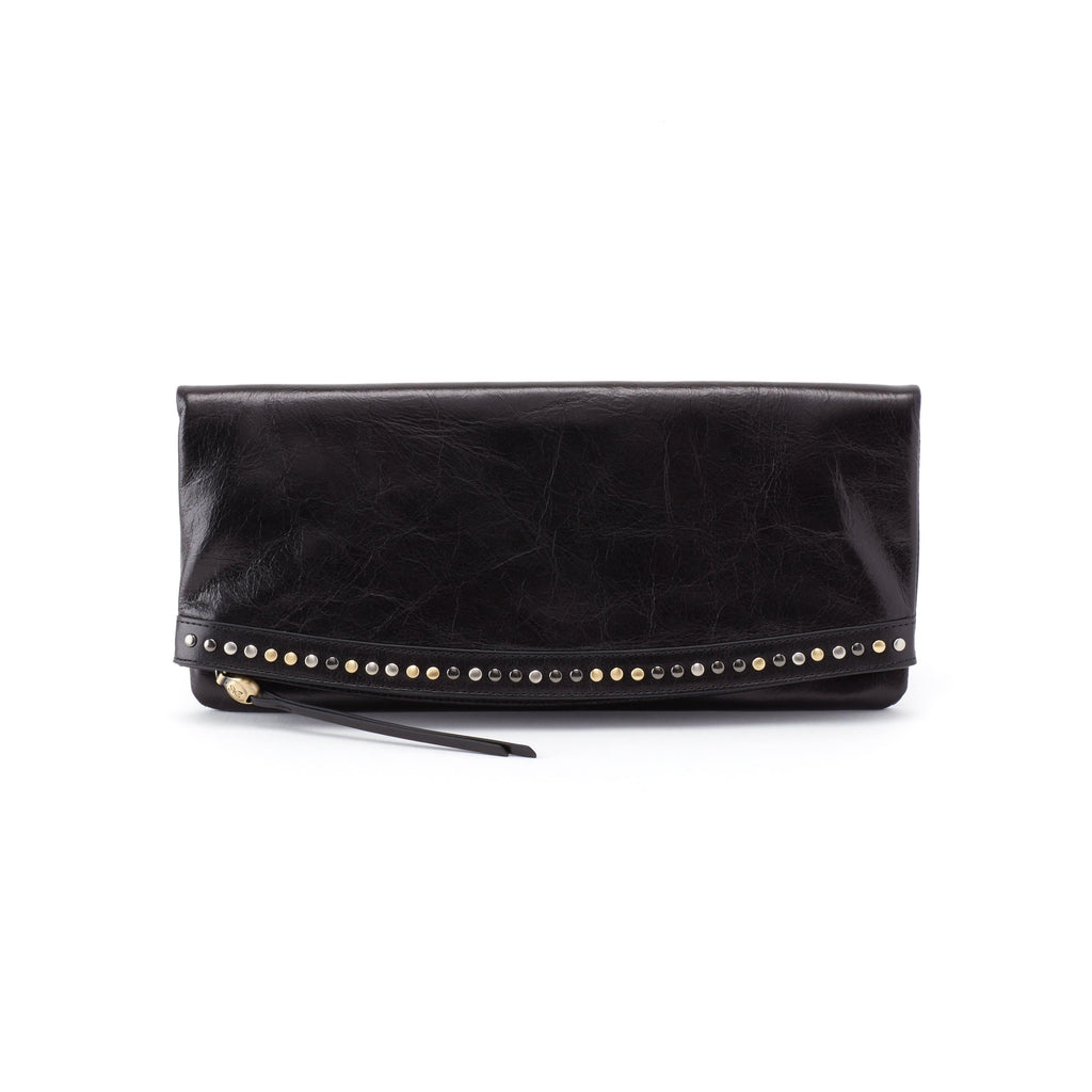 Hobo VI-35736 Zeal Large Studded Black Leather Clutch | Simons Shoes