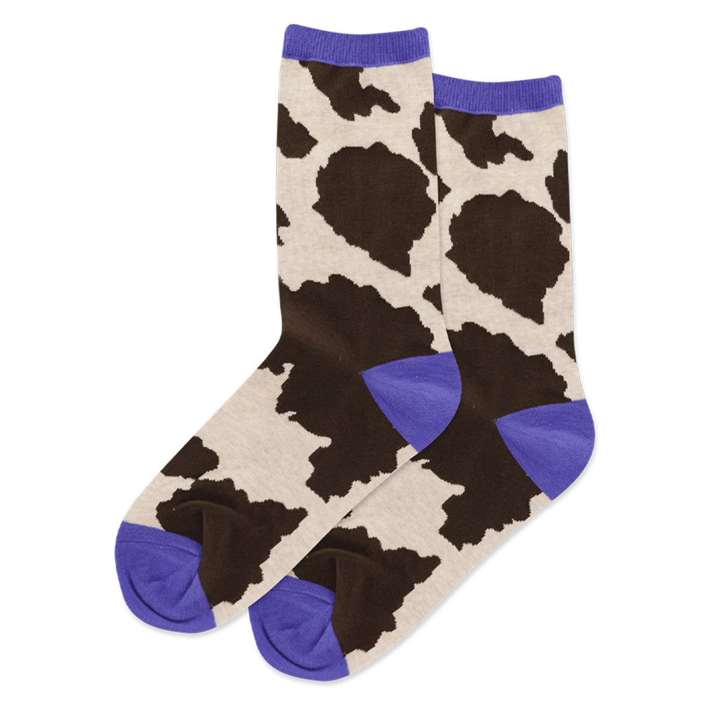 Hot Sox Cow Print Women's Crew Socks Cotton Blend | Simons Shoes