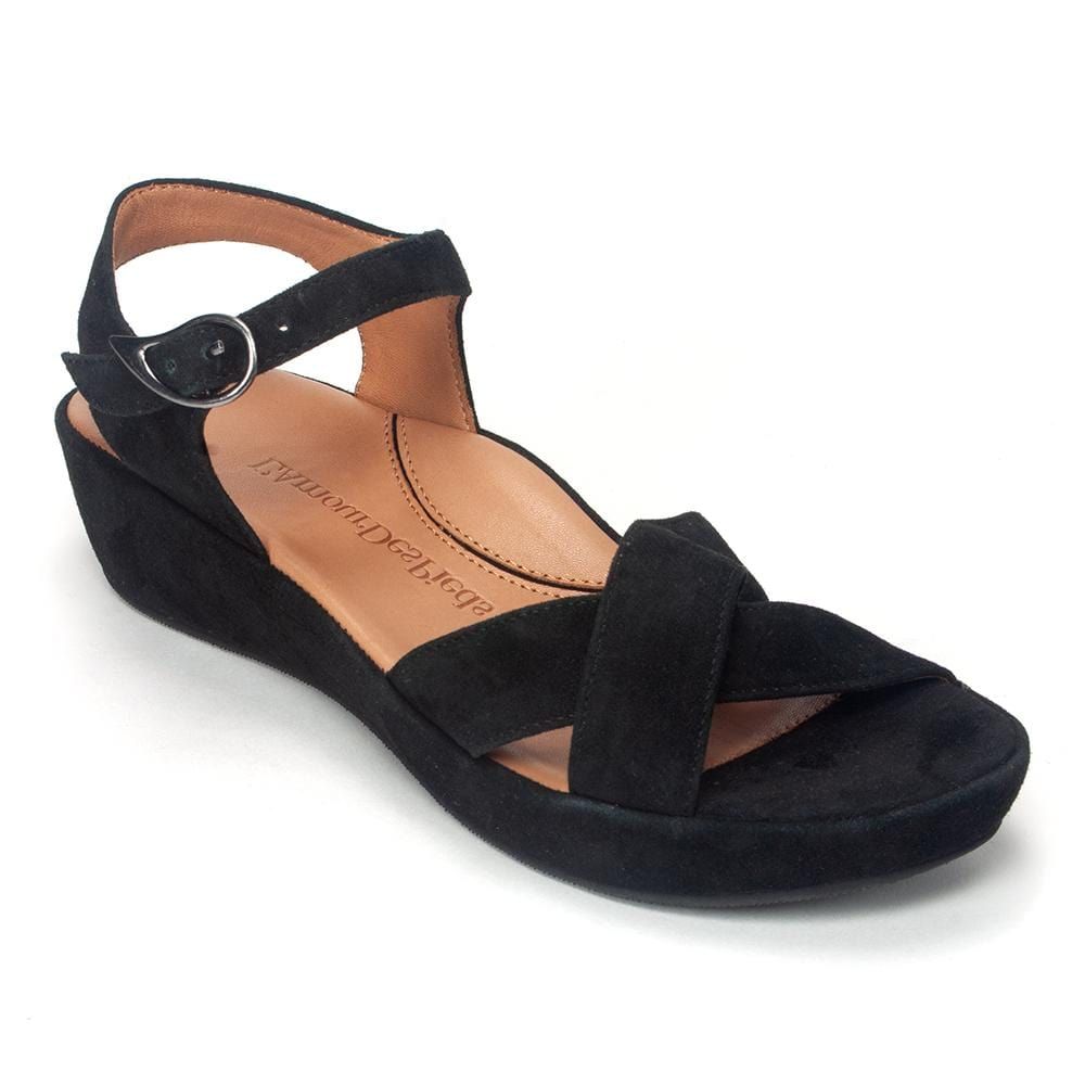 L'Amour Des Pieds Casimiro Womens Open Toe Suede Sandal Black Suede | Simons Shoes