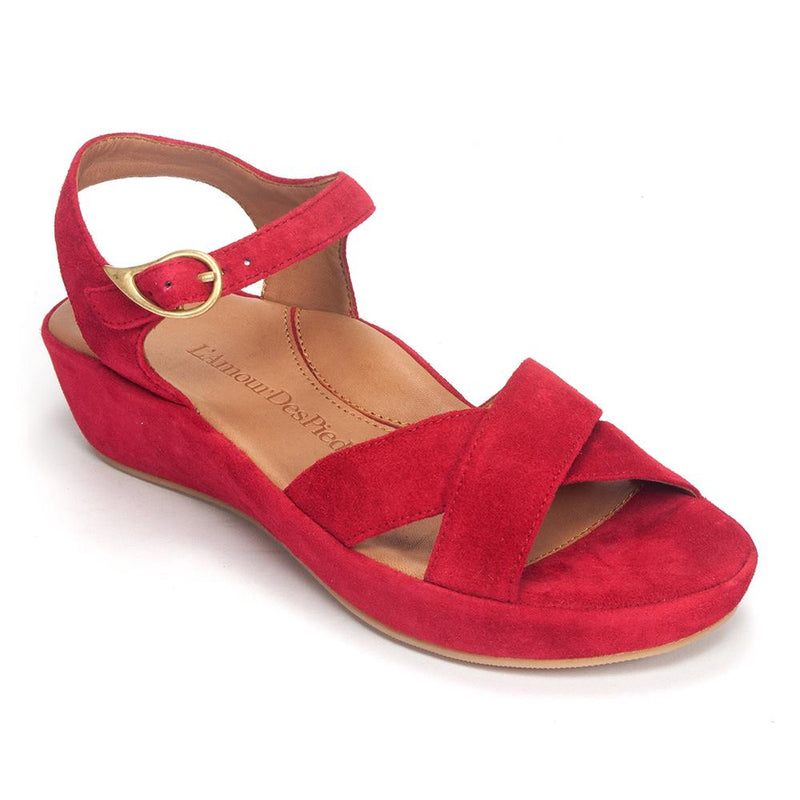 L'Amour Des Pieds Casimiro Womens Open Toe Suede Sandal Red Suede | Simons Shoes