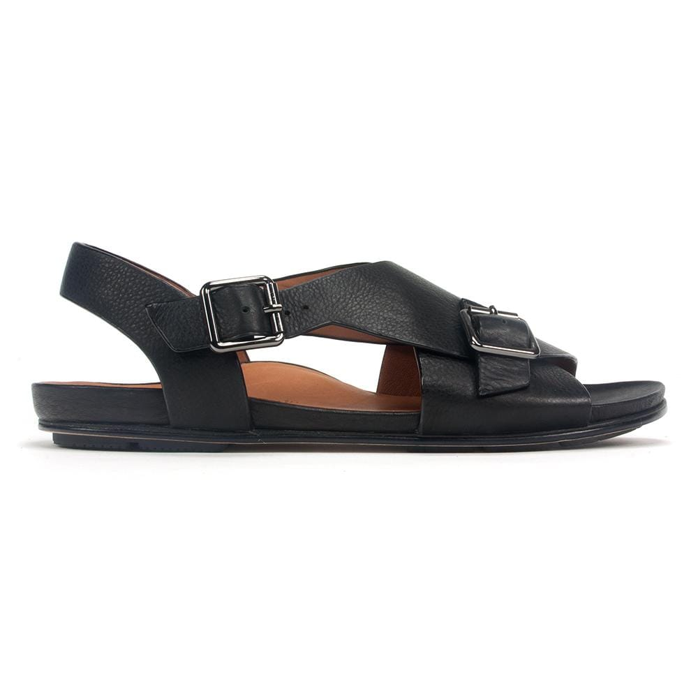 L'Amour des Pieds Sandal - Women's Dordogne Leather Buckle Flat Sandal | Simons Shoes