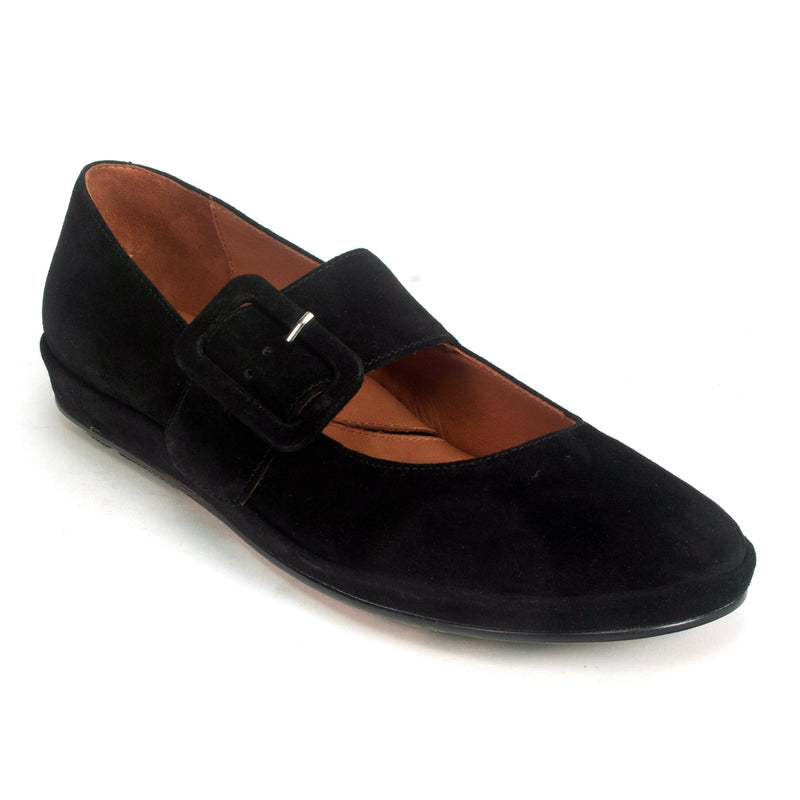 L'Amour Des Pieds Cathenne Womens Mary Jane Buckle Flat Black Suede | Simons Shoes