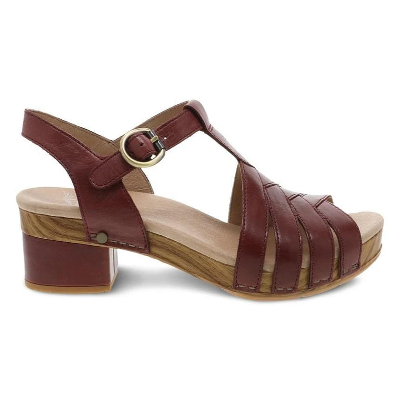 Dansko Mara Womens Peep Toe Leather Adjustable Sandal | Simons Shoes
