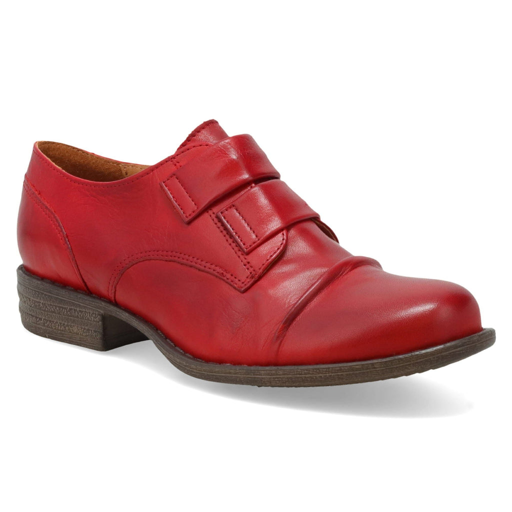 Miz Mooz Liam Womens Banded Zip Leather Oxford Red | Simons Shoes