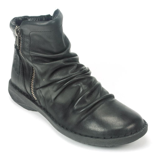 Miz Mooz Pleasant | Women's Ruched Leather Flat Bootie | Simons Shoes