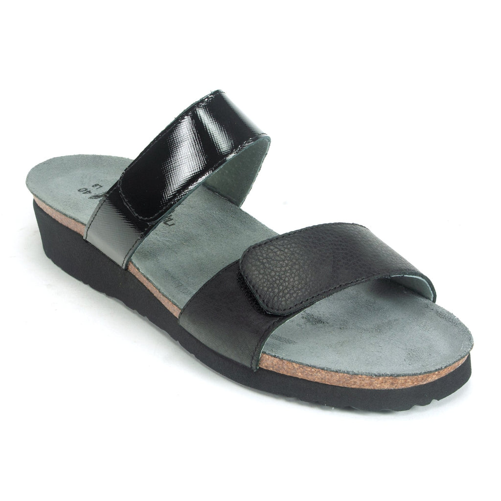 Naot Althea Womens Adjustable Leather Slide Sandal NYP Black | Simons Shoes
