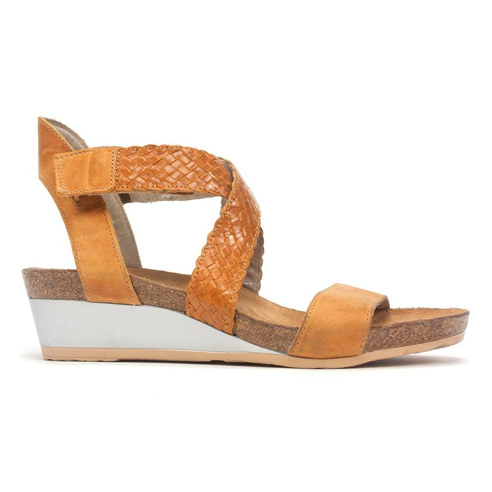Naot Women's Cupid Woven Leather Criss Cross Strap Wedge Sandal Shoe