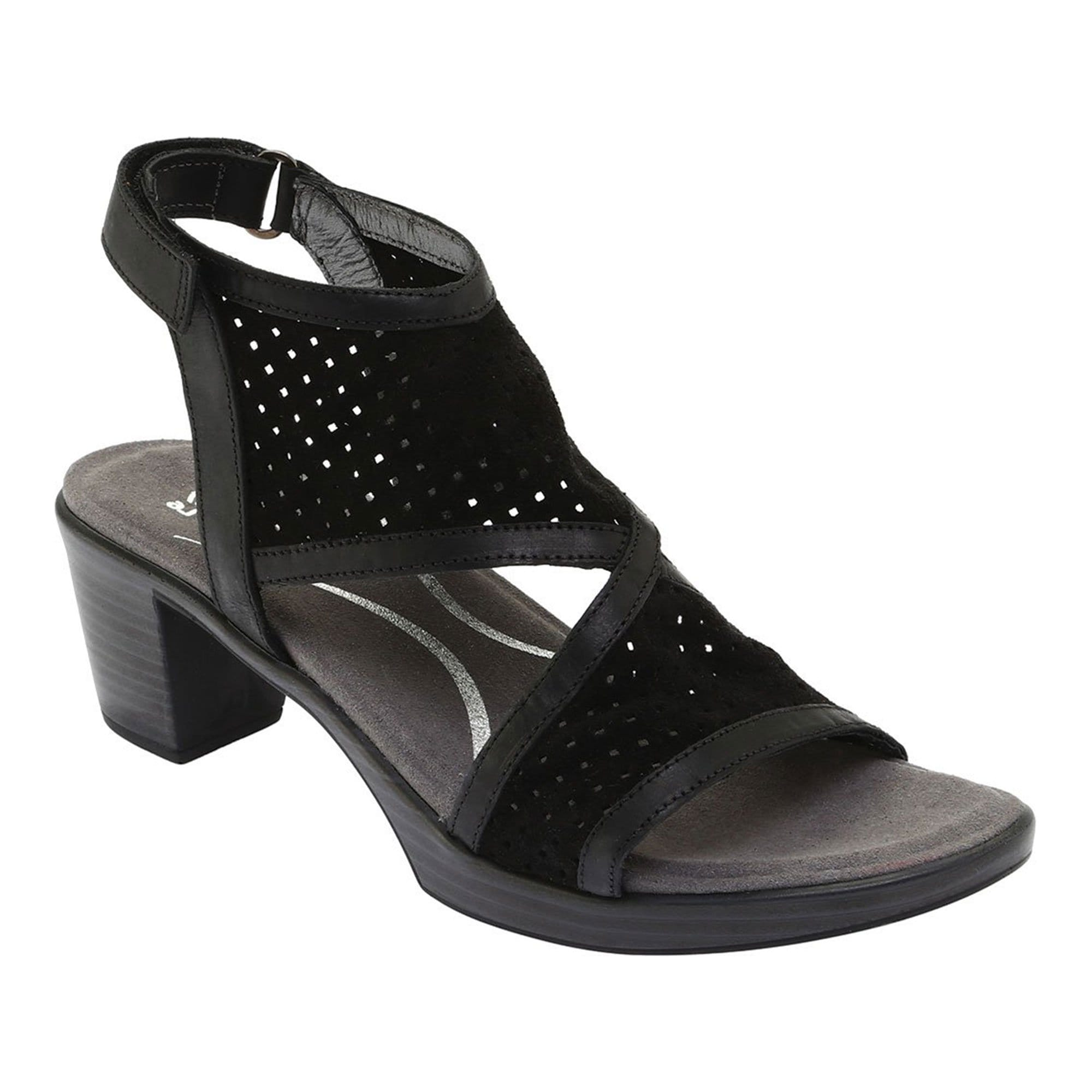 Naot Destiny Womens Perforated Suede Heeled Sandal NYX Black Oily | Simons Shoes