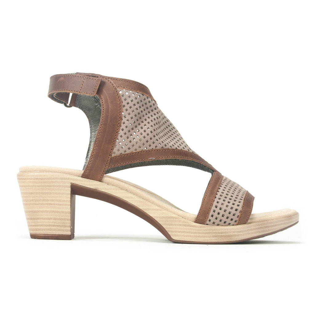 Naot Destiny Womens Perforated Suede Heeled Sandal WBN Stone | Simons Shoes