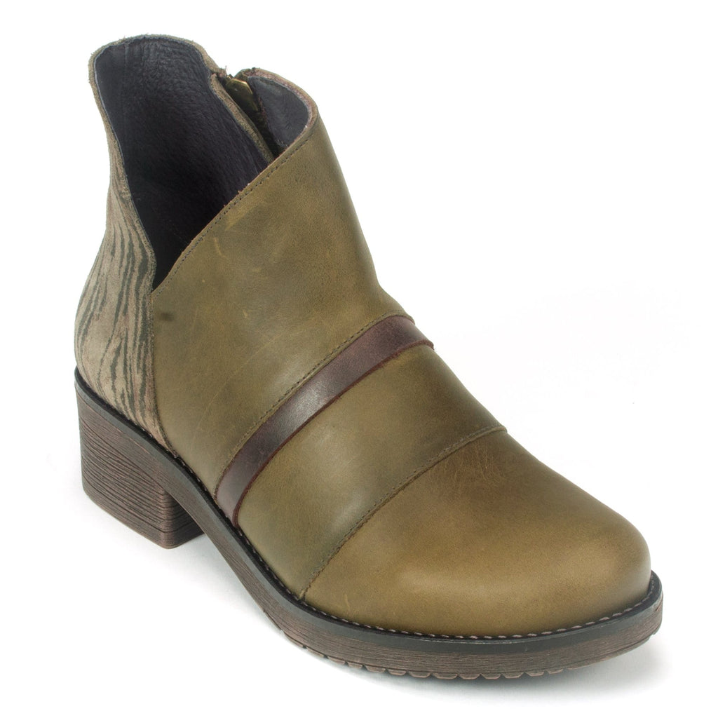 Naot Emerald Women's Stylish Leather and Suede Bootie VAS Pine Safari | Simons Shoes