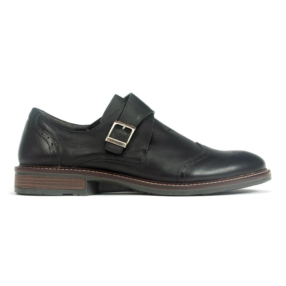 Naot Evidence Men's Leather Monk Strap Wing Tip BA6 Soft Black | Simons Shoes