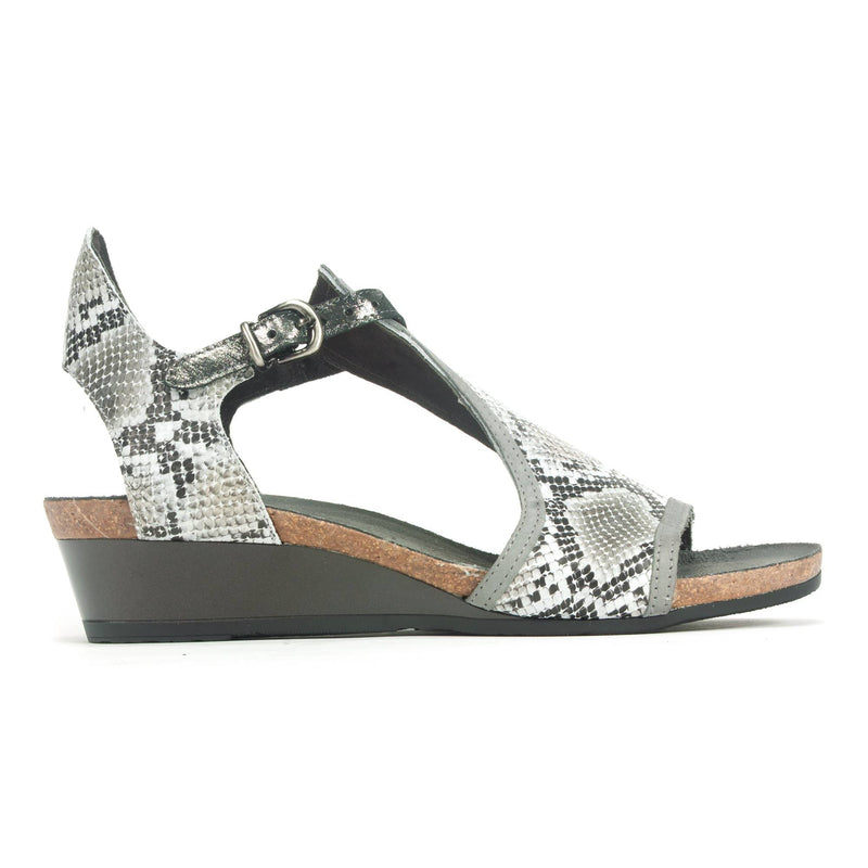 Naot Fiona Women's Leather Gladiator Wedge Sandal NPQ Gray Cobra | Simons Shoes