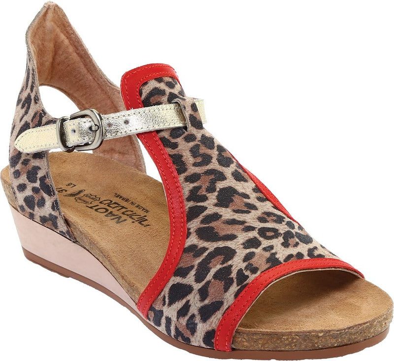 Naot Fiona Women's Leather Gladiator Wedge Sandal SIR Cheetah Red Multi | Simons Shoes