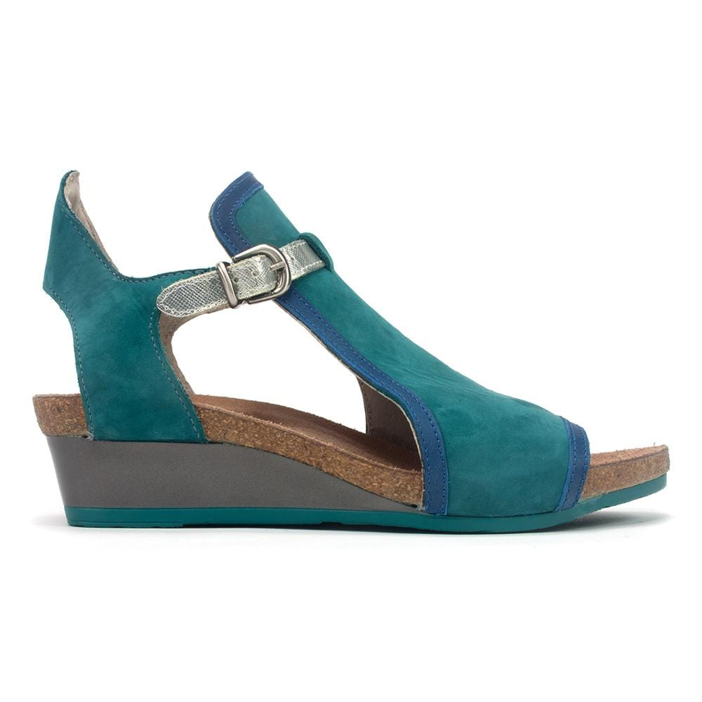 Naot Fiona Women's Leather Gladiator Wedge Sandal V86 Teal | Simons Shoes