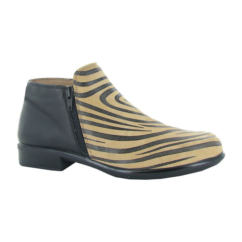 Naot Women's Helm Leather Anatomic Cork Footbed Bootie Tan Zebra | Simons Shoes