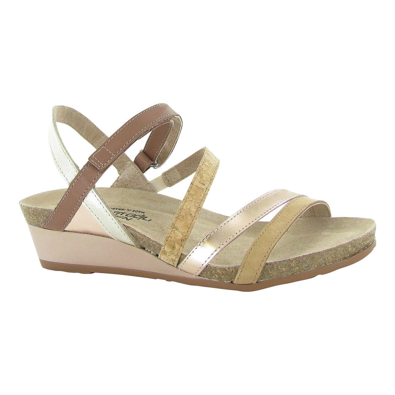 Naot's Hero Women's Strappy Leather Wedge Sandal 5047 Nude Gold Multi | Simons Shoes