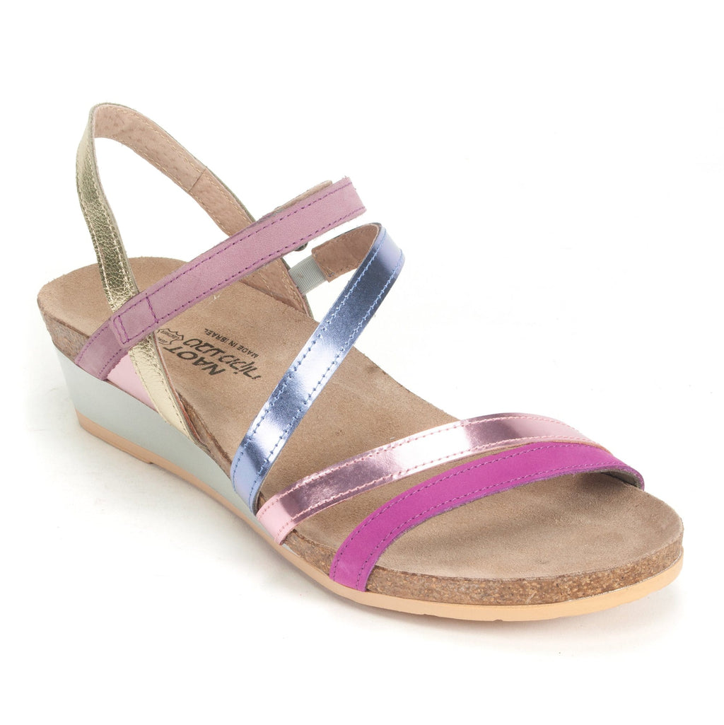 Naot's Hero Women's Strappy Leather Wedge Sandal RCW Pink Plum Multi | Simons Shoes