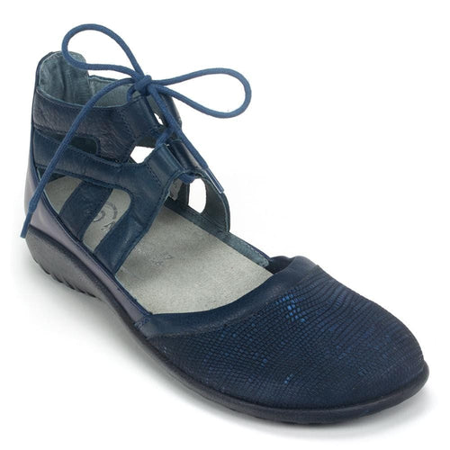 Naot Kata Womens Leather Tie Ankle Ballerina Flat | Simons Shoes