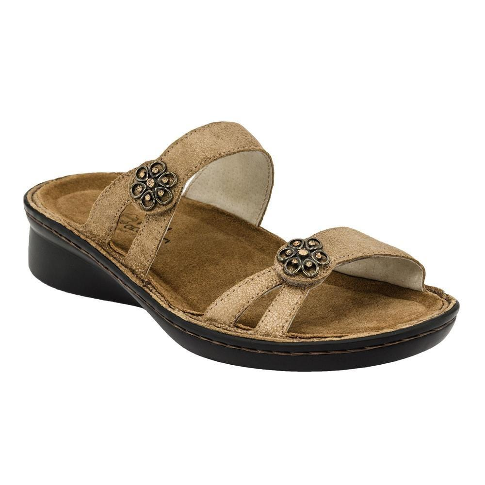 Naot Melody Women's Leather Floral Rhinestone Closure Slide Sandal