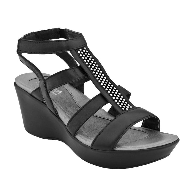 Naot Mystery Women's Leather Studded Gladiator Wedge Dress Sandal Shoe
