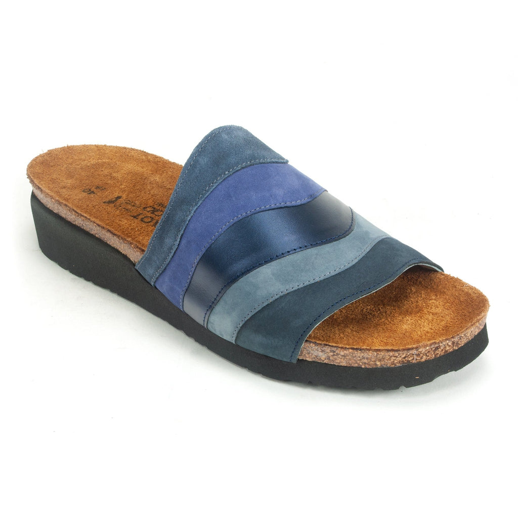 Naot Women's Portia Leather Cork Wedge Slide Sandal PDJ Blue Multi | Simons Shoes
