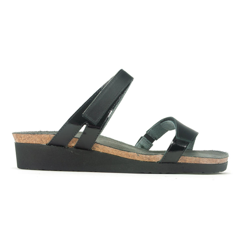 Naot Presley Womens Adjustable Leather Slide Sandal NYI Black Multi | Simons Shoes
