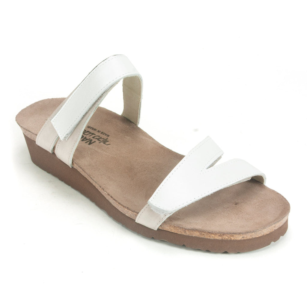 Naot Presley Womens Adjustable Leather Slide Sandal WBK White Quartz | Simons Shoes