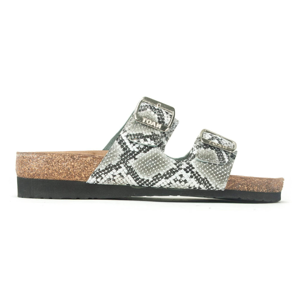 Naot Santa Barbara Women's Cork Buckled Slide Sandal BAC Gray Cobra Leather | Simons Shoes