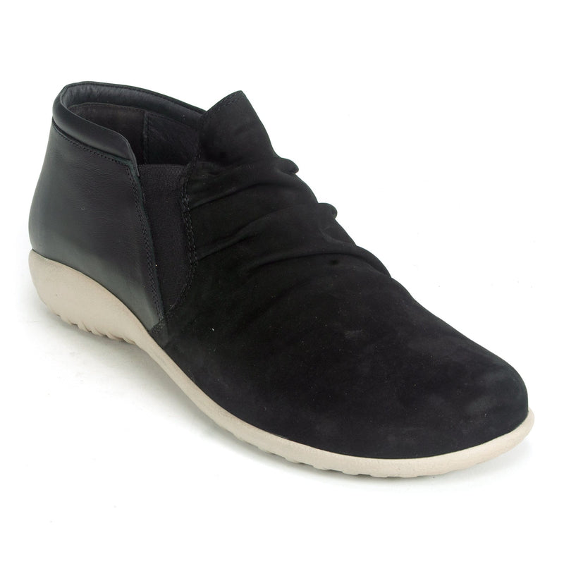 Naot Terehu Women's Ruched Leather Slip On Bootie NP2 Raven Velvet | Simons Shoes