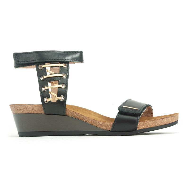 Naot Wizard Women's Leather Metallic Accented Ankle Strap Sandal Shoe B08 Black | Simons Shoes