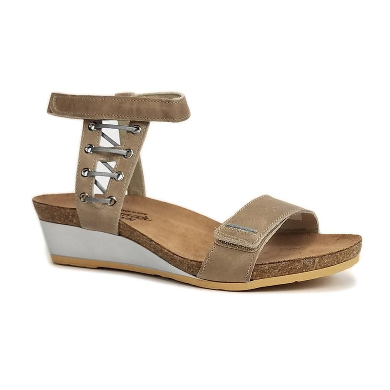 Naot Wizard Women's Leather Metallic Accented Ankle Strap Sandal Shoe H46 Khaki Beige | Simons Shoes