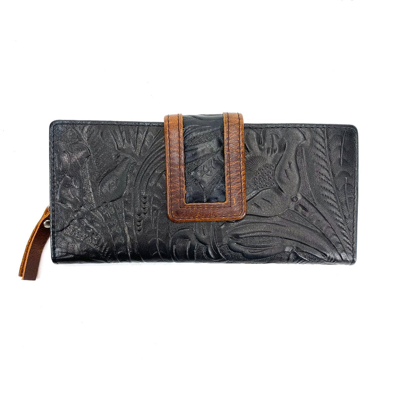 Osgoode Marley 1436 Floral Black Leather Clutch Wallet | Simons Shoes